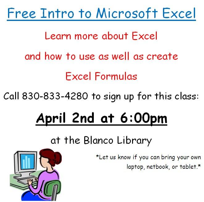 Excel Classes 4-2-15