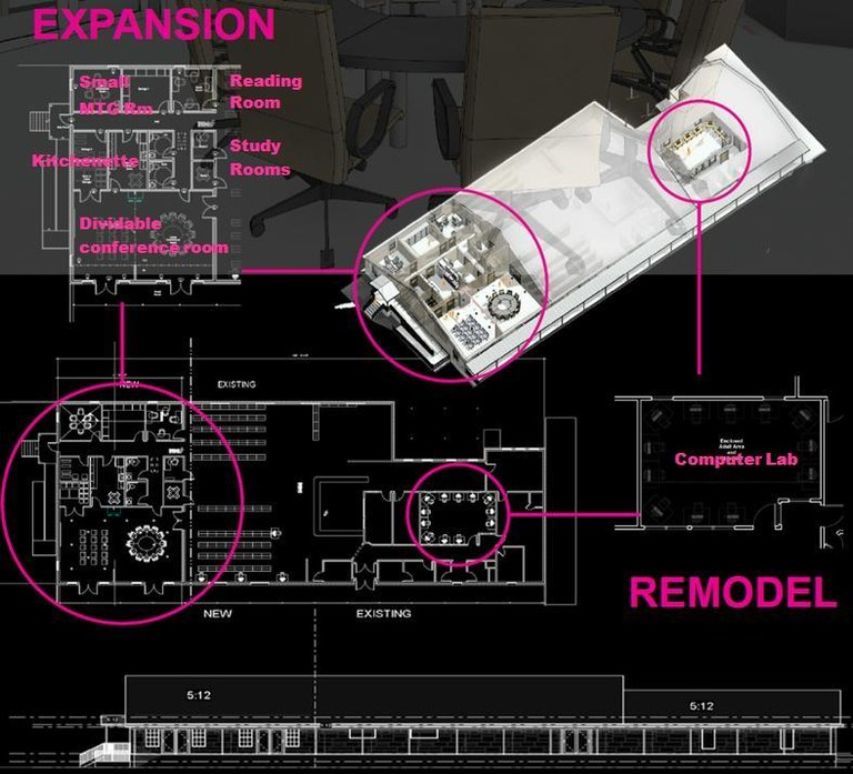 Library expansion - blackand pink layout.JPG